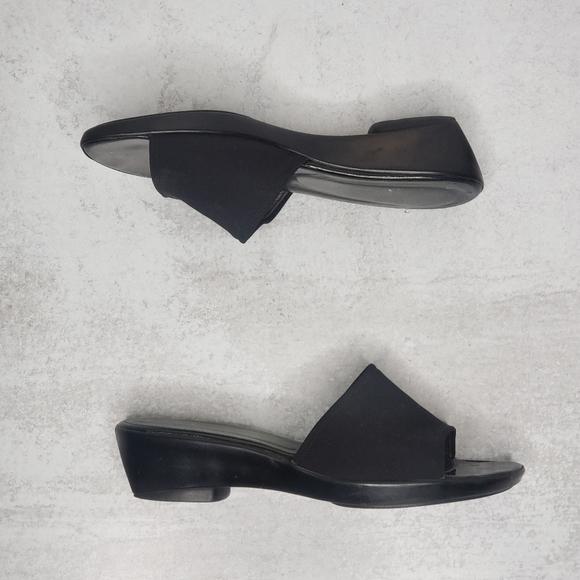 Stuart Weitzman Black Square Slide Wedge Sandals